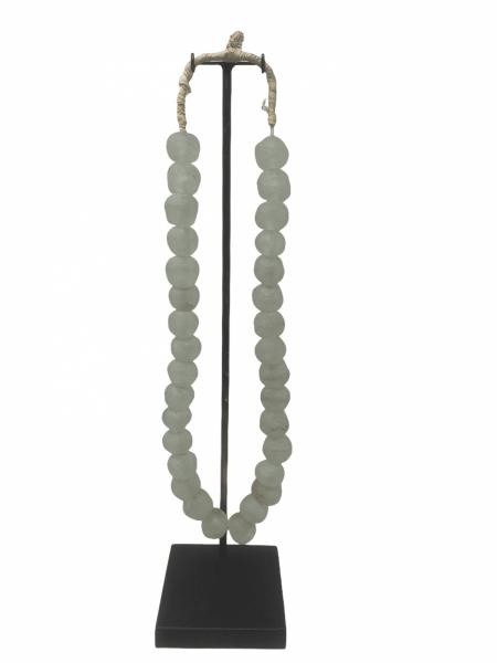Ghana glass bead necklace - M Clear