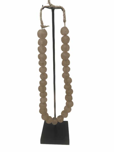 Ghana glass bead necklace - M Salmon pink