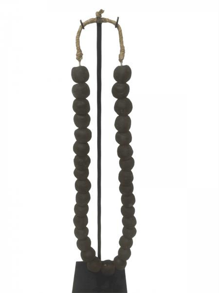 Ghana glass bead necklace - M Grey