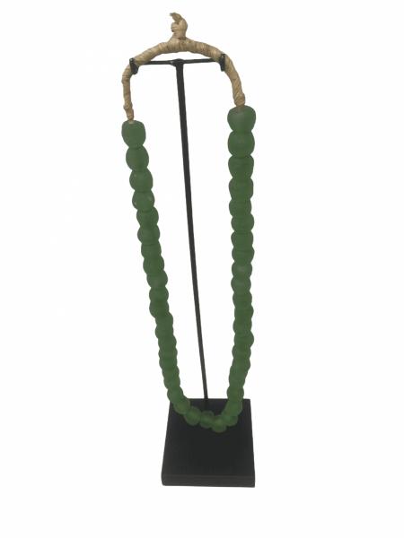 Ghana glass bead necklace - S Green