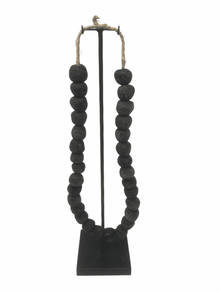 Ghana glass bead necklace - M Black