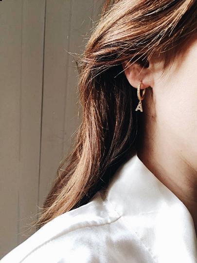 Letter Initial Gold Hoop Zirconia Personalised Huggie Earrings Silver