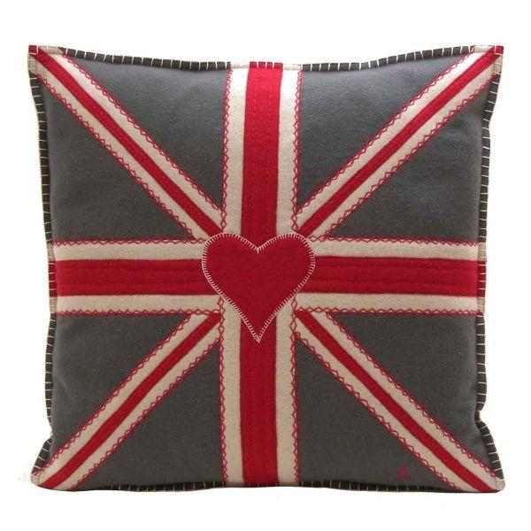 Jan Constantine Union Jack Square Cushion (Grey)
