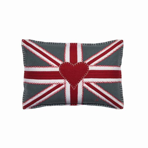 Jan Constantine Small Union Jack Crunch Cushion (Grey)