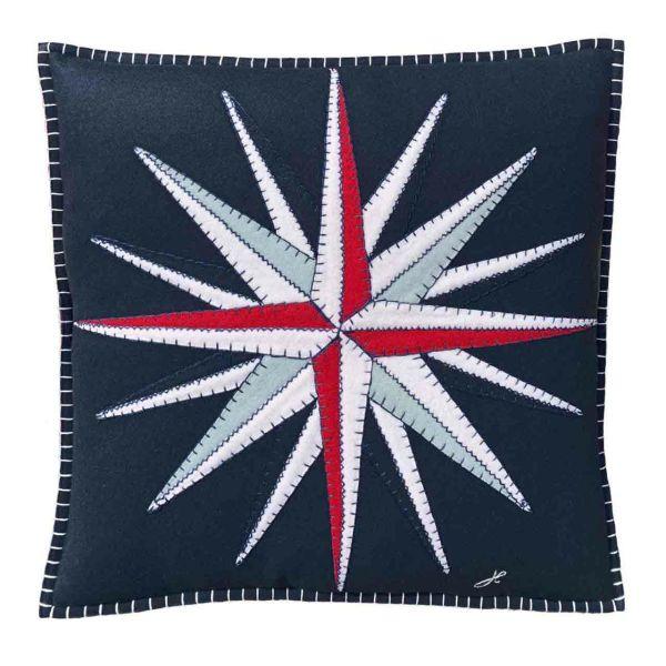 The Jan Constantine Compass Cushion (Navy)