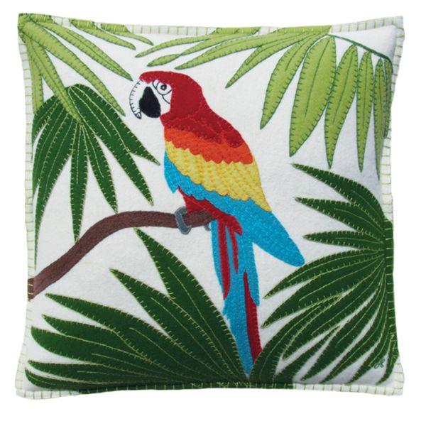 Jan Constantine Tropical Parrot Cushion (Cream)