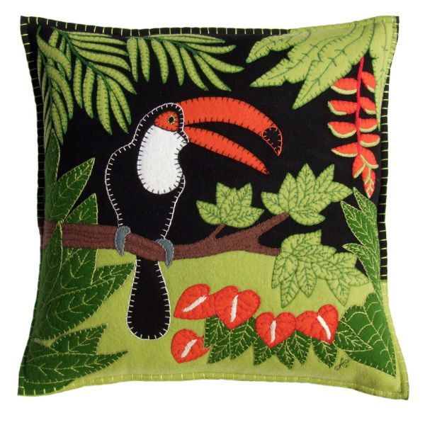 Jan Constantine Tropical Toucan Cushion (Black)