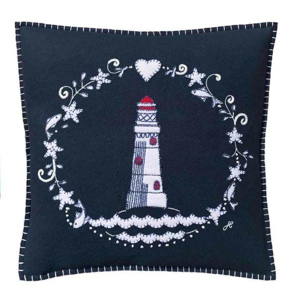 The Jan Constantine Lighthouse Wreath Cushion (Navy)