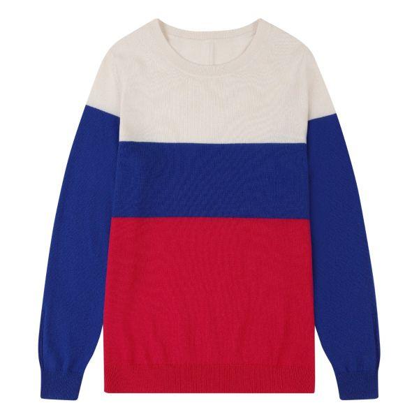 Cashmere Crew Neck Sweater in Bayou Colourblock