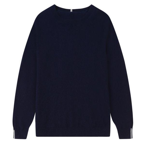 Cashmere Crew Neck Sweater in Midnight