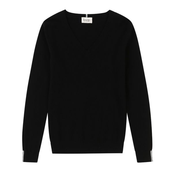 Cashmere V Neck Sweater in Black