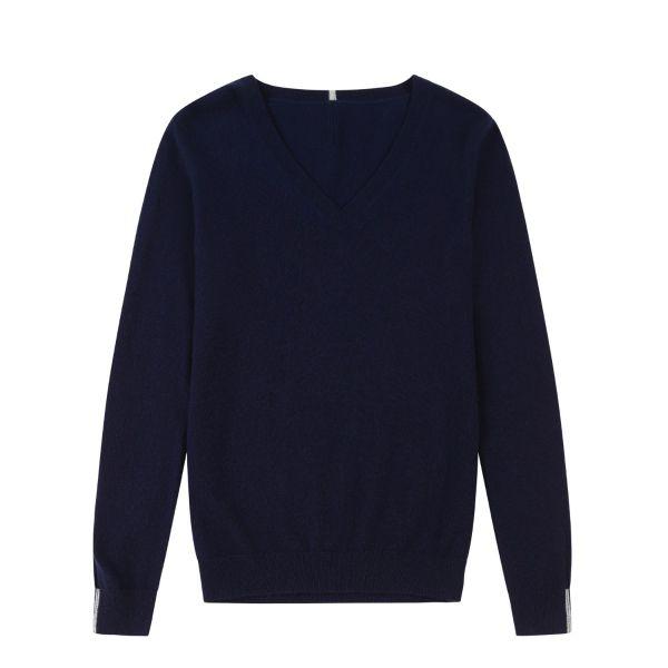 Cashmere V Neck Sweater in Midnight