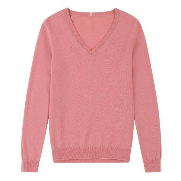 Cashmere V Neck Sweater in Tea Rose