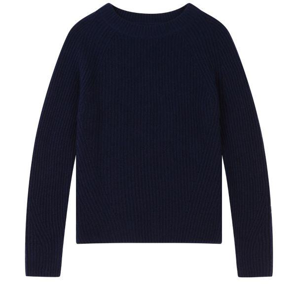 Ribbed Cashmere Sweatshirt in Midnight
