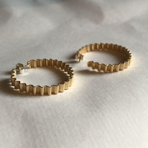Large Ondulee Hoop Earrings   18ct gold Vermeil