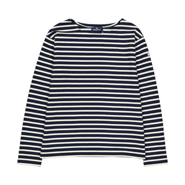 Ecru / Navy Cotton long sleeve t-shirt - XS