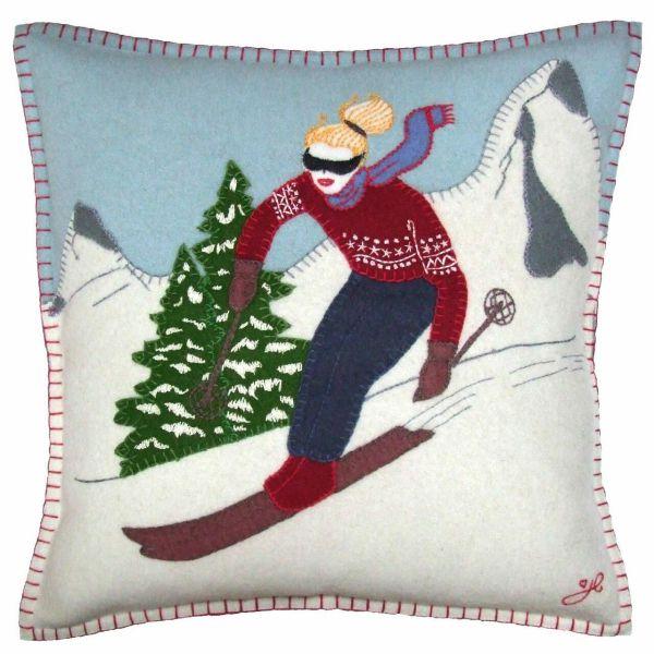 Jan Constantine Alpine Skier Girl Cushion
