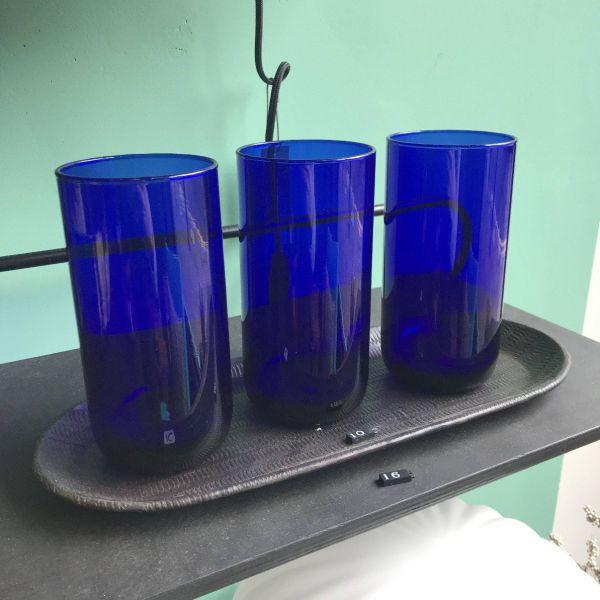 VINTAGE BLUE TALL TUMBLER GLASS