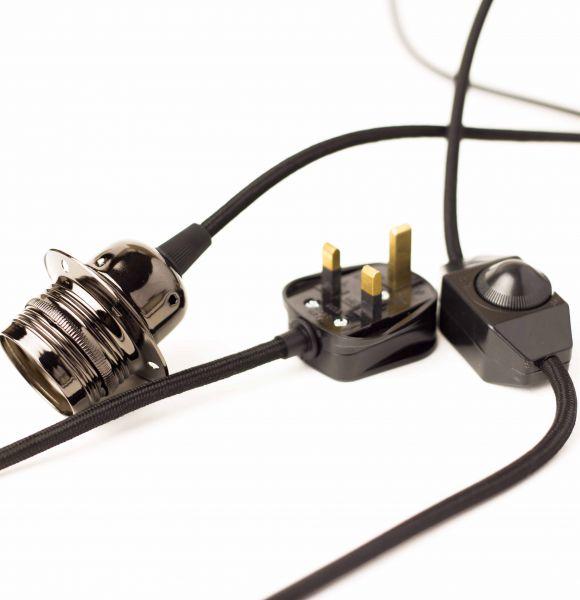 Vintage lighting black dimmer set plug cuemars