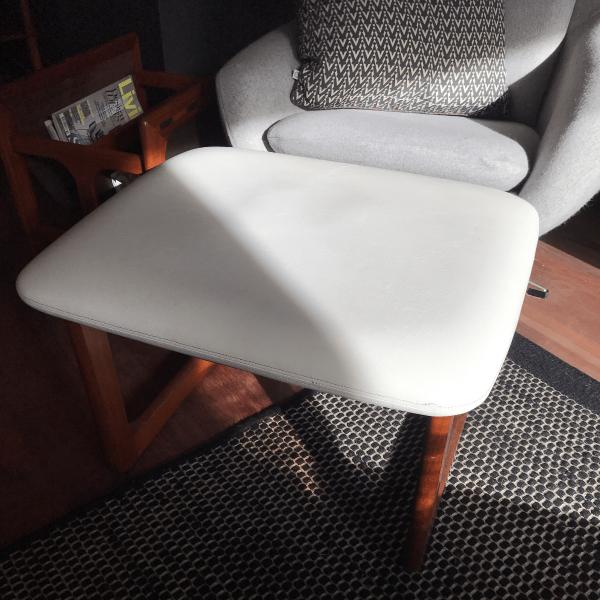 White Mid Century Vintage Footstool
