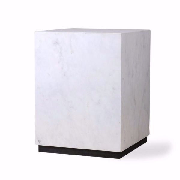 White Marble Block Table | Medium